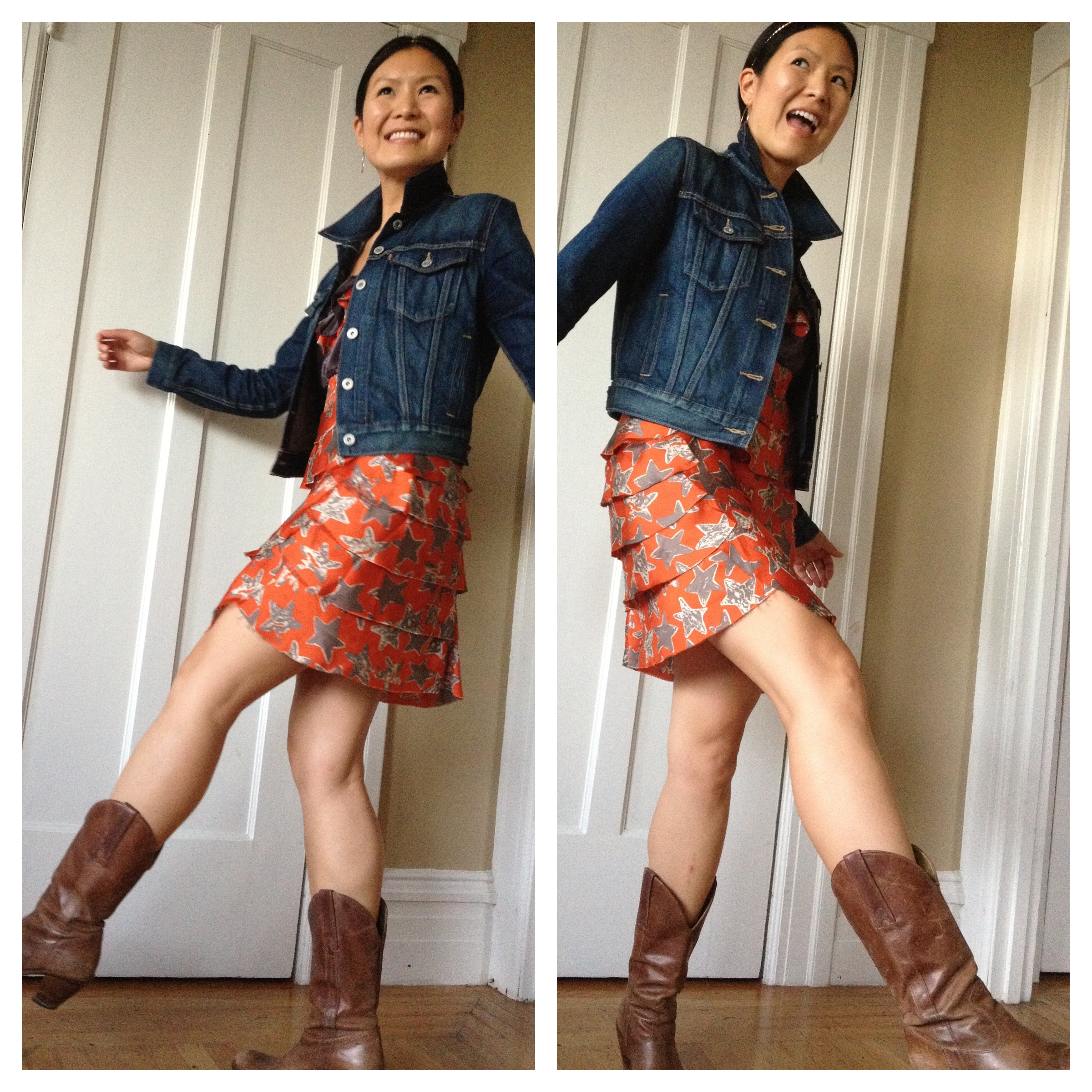 Orange Dress with Cowgirl Boots