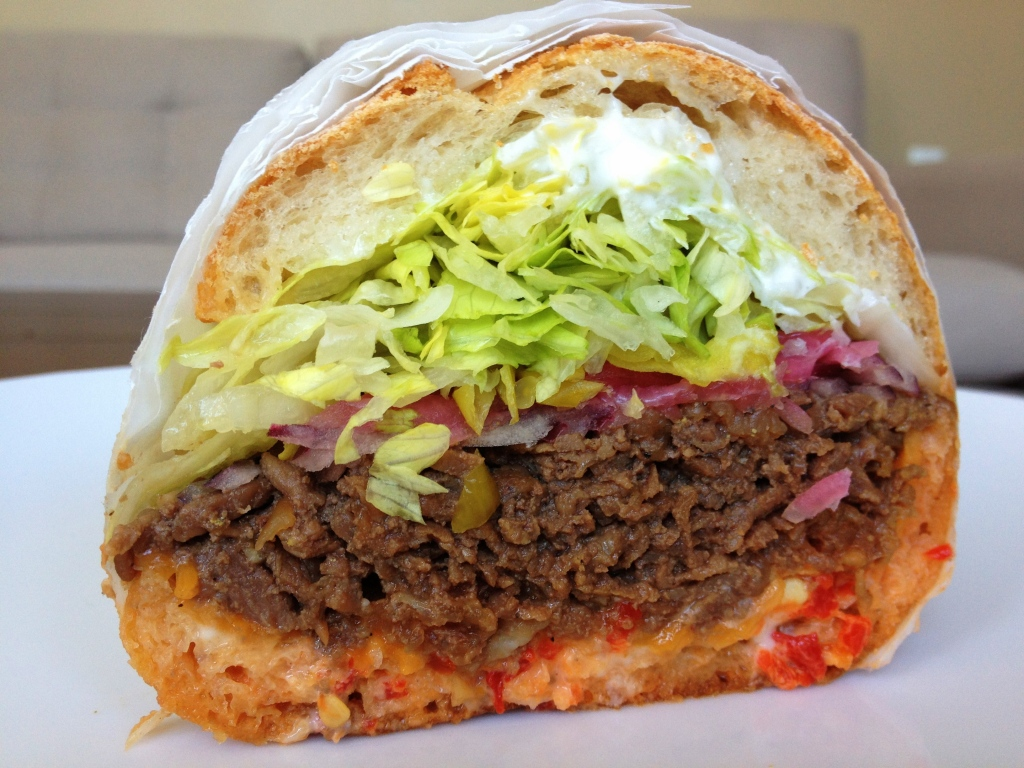 Rhea's Deli's big honkin Korean steak sandwich